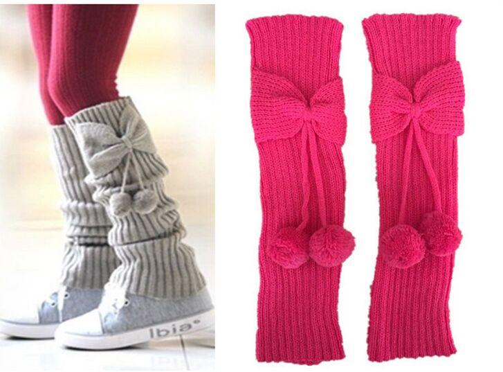 Christmas Children S Bow Pom Poms Knitted Leg Warmers Boot
