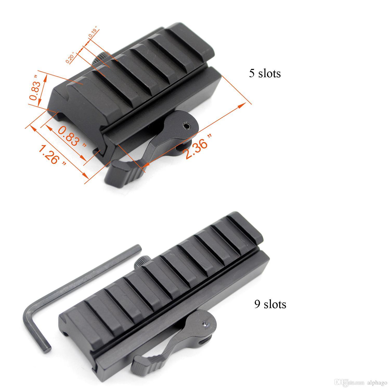 20 mm Picatinny/Weaver Rail Baese 5 / 9 slots QD Quick Release Riser Scope Mount Adapter