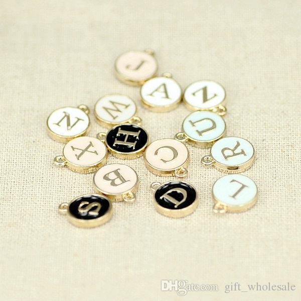 26 Cartas Carimbadas Charme Pingentes Inicial OURO Banhado A Gotejamento Branco Redondo Carta DIY Pingente para colar 4 cores para escolhas