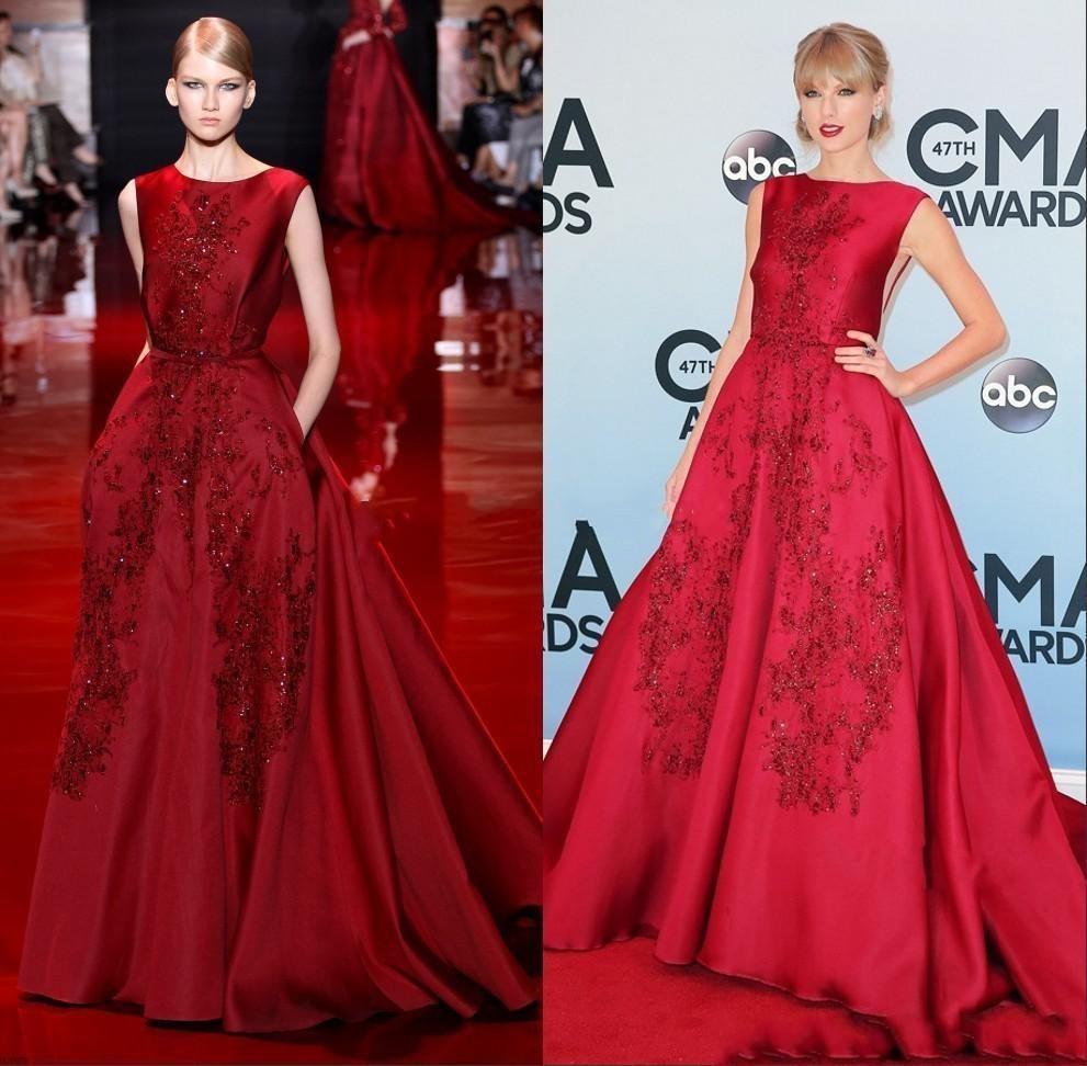 Latest Design 2015 Red Celebrity Dress Ball Gown Jewel Neckline ...