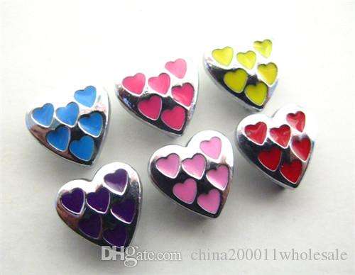 8mm Mutil color heart slide charms DIY accessory fit to wristband,pet collar&phone chain