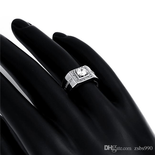 2015 nuovo disegno 18 k placcato oro svizzero diamante cz anello gentiluomo moda gioielli classici 8-10 # regalo di nozze / fidanzamento spedizione gratuita