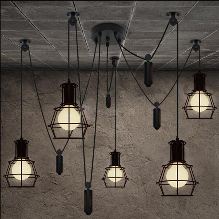 Loft Industrial Style Iron Cages Pendant Light Bar Counter Loft ...