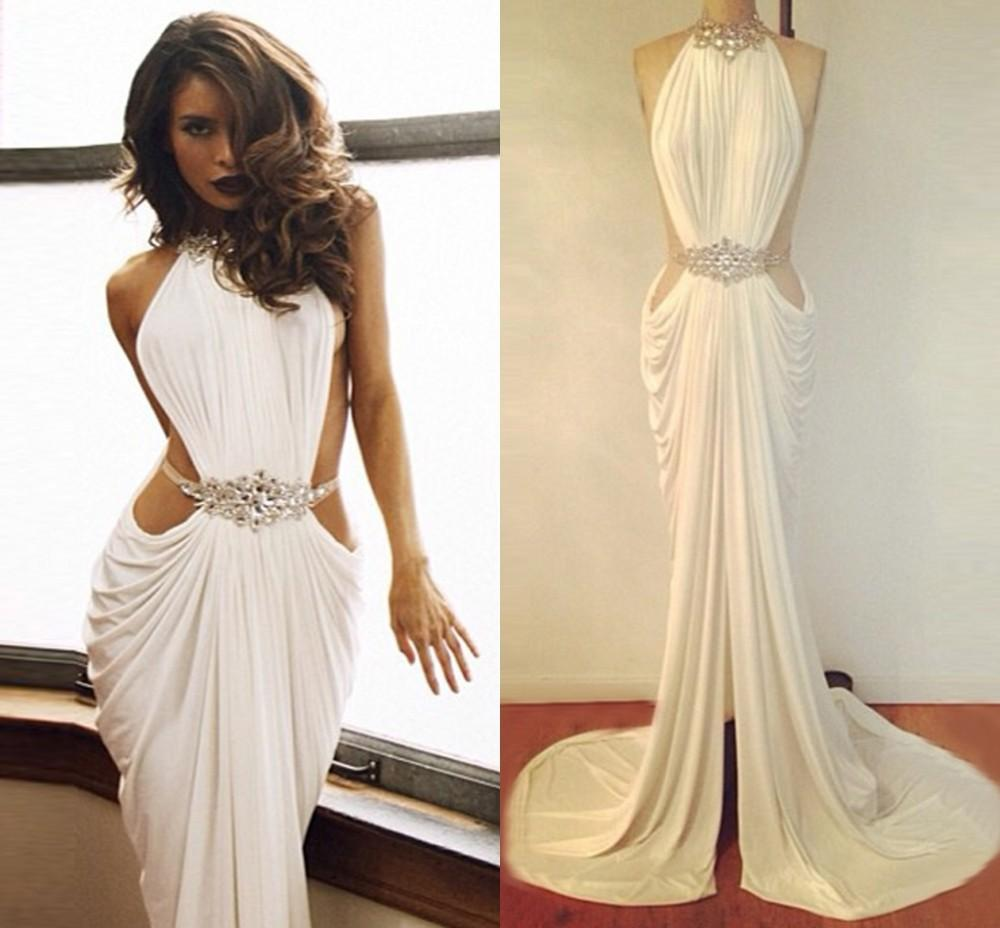 Cheap White Sexy Backless Prom Dresses High Neck Spendex Party ...