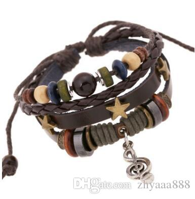 Beaded leather retro bracelet alloy notes leather bracelet cross border electricity supplier