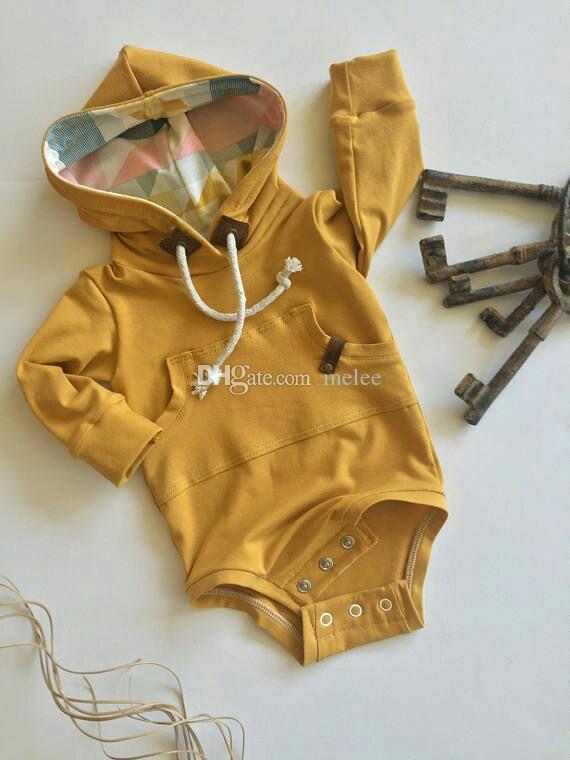 Ins Weihnachten solide warme Baby Mädchen Bodysuit Langarm Mädchen Jungen Winter Herbst Kleidung Neugeborene Baby Tasche Mit Kapuze Ropa Bebe Baby Bodysuits