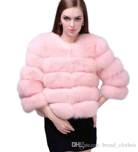 Inverno Casaco De Pele De Raposa Casaco de Pêlo De Pele Senhoras Petite Outwear Em Torno Do Pescoço Manga Comprida Casacos Parka Trench Coats Curto Outwear Quente