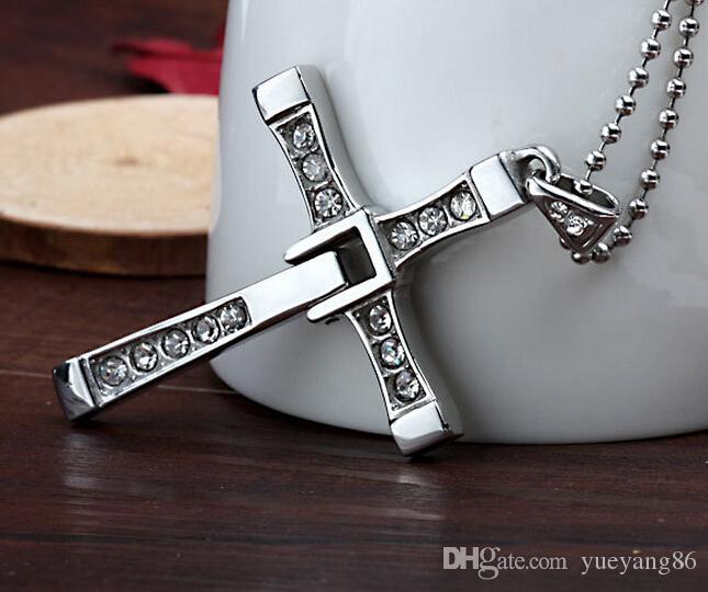 Nuovo design Affascinante stile di Charme 316L in acciaio inox argento Zircone Cross Pendant Collana Unisex Men Fast Furious così cool classico