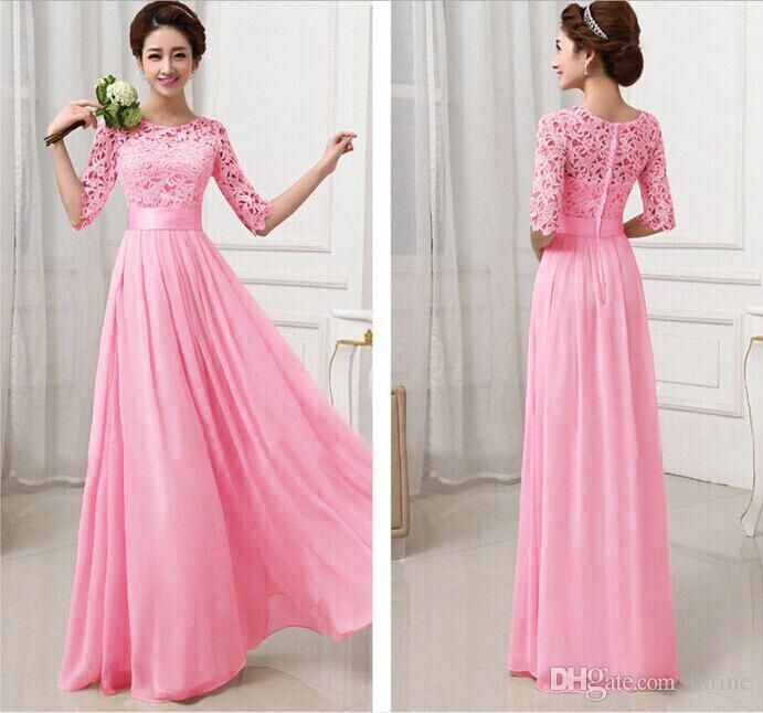 Vestidos de Fiesta Pink White Chiffon Long Formal Prom Gowns Back ...