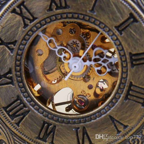 Sıcak Satış Steampunk İskelet Mekanik Pocket saat Kadın Erkek Moda Mekanik Saat İzle Romen Rakamıyla Dial
