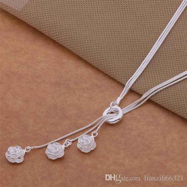 Livraison gratuite avec numéro de suivi Best Most Hot vente Femmes Delicate Gift Jewelry 925 Silver 3 couche chaîne 3 rose Collier