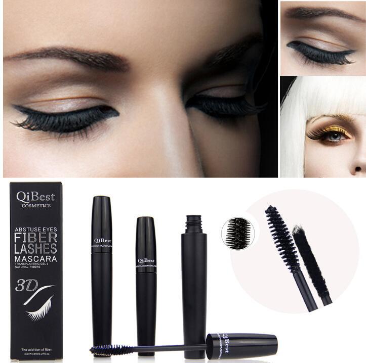 2016 Qibest 3d Fiber Lashes Mascara Cosmetics Mascara Black Double