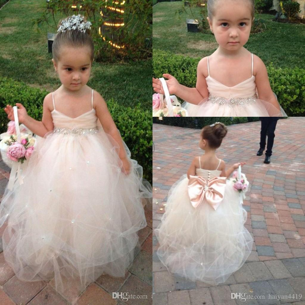 eb123ef0694 2016 Cheap Flower Girls Dresses For Weddings Crystal Beads Empire Bow  Champagne Party Princess Children Girl Party Birthday Christmas Gowns Discount  Flower ...
