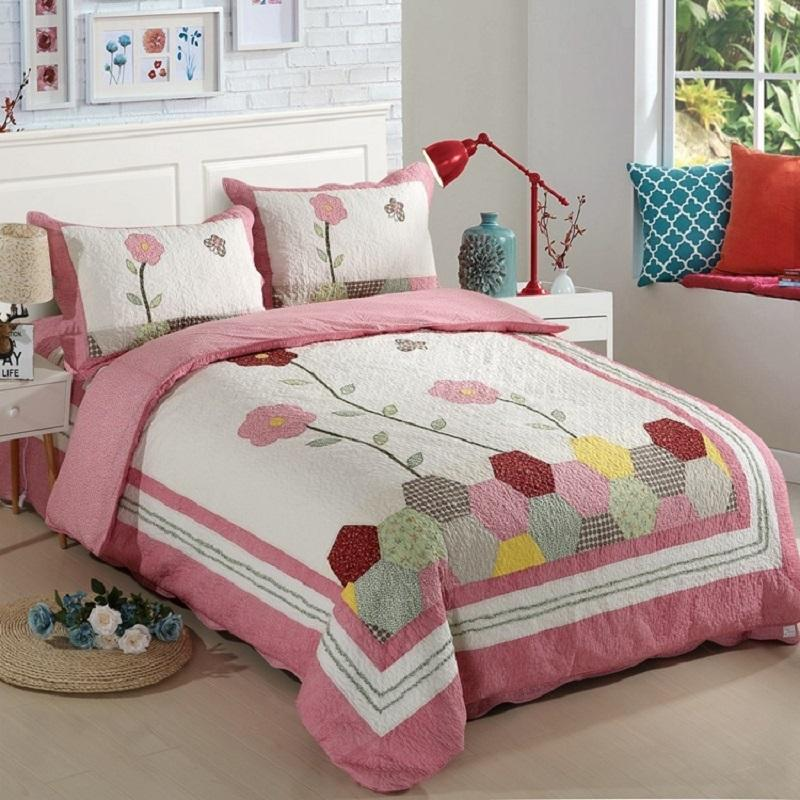 blanket quilt thin new flamingo green comforter summer patchwork leaf just flower brid full product pink about it