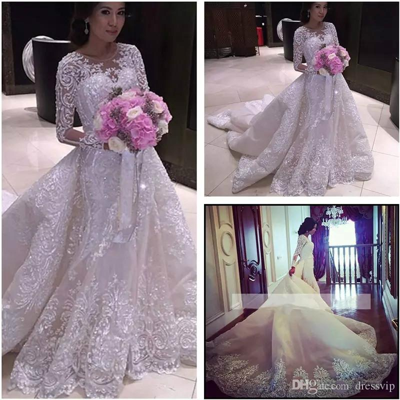 09e5ffe8ca3 Bling Luxury Long Sleeve Wedding Dresses Full Applique Beads Sequins Long  Train Jewel Neck Plus Size Wedding Dress Arabic Bridal Gown Lace Bridal  Dresses ...