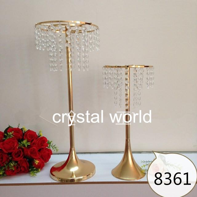 Tall gold mental flower stands wedding table