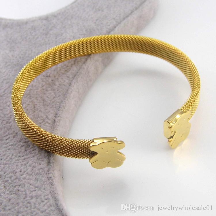 Золотые браслеты для женщин 2016 весна новое поступление широкий браслет из нержавеющей стали браслеты женщин старинные браслеты шелк бутон цветка