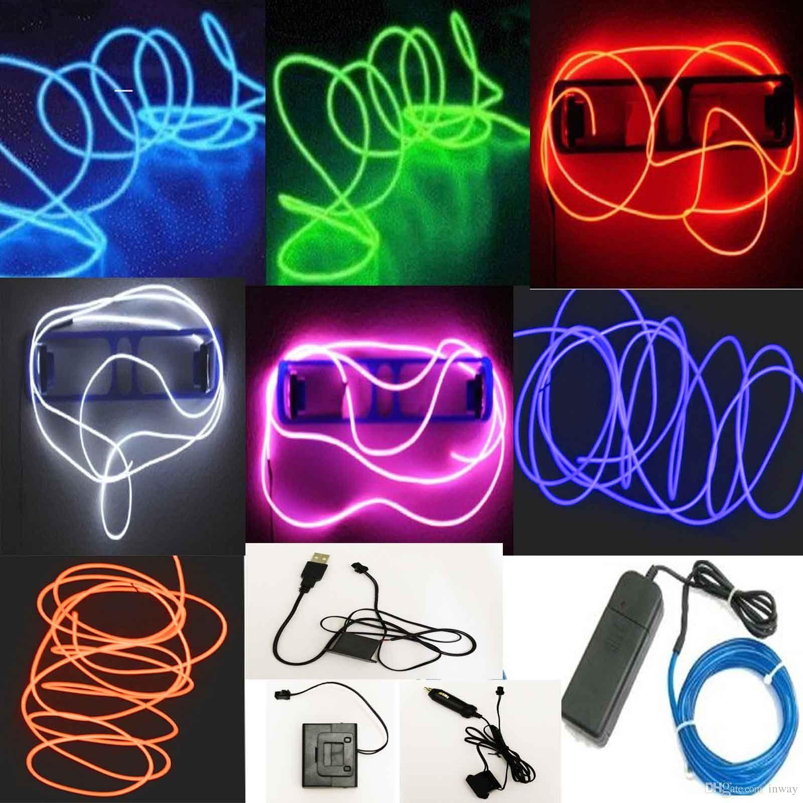 5m Flexible Neon Led Light Glow El Wire String Strip Rope Tube Car ...