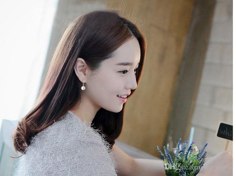 New Pearl Earrings White GOLD Plating Disco Ball Dangle Earrings 925 Sterling Silver Earrings for Wedding Party
