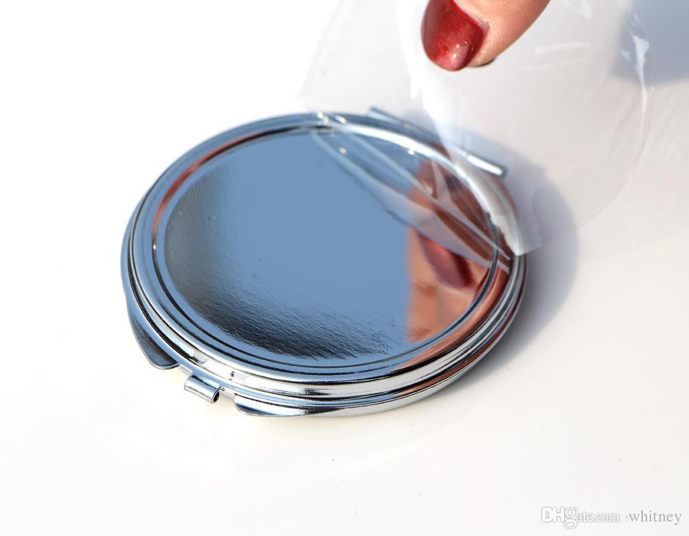 Nuovo specchio d'argento tasca sottile specchio compatto vuoto in metallo specchio il trucco fai da te specchio Costmetic regalo di nozze # M0832