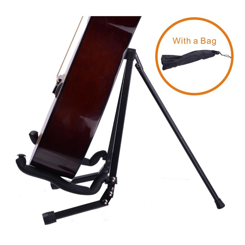 2017 portable folding guitar stand full metal compact style with bag black from egetmart. Black Bedroom Furniture Sets. Home Design Ideas