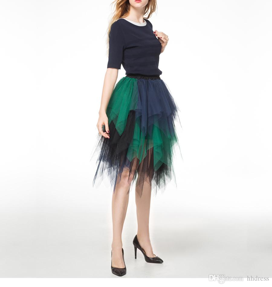 c51da4b38 2019 2018 Spring Multicolored Cheap High Low Adult Skirts Tutu Tulle Tiered  Layers High Waist Bust Skirts Women Stylish Long Party Cocktail Dress From  ...