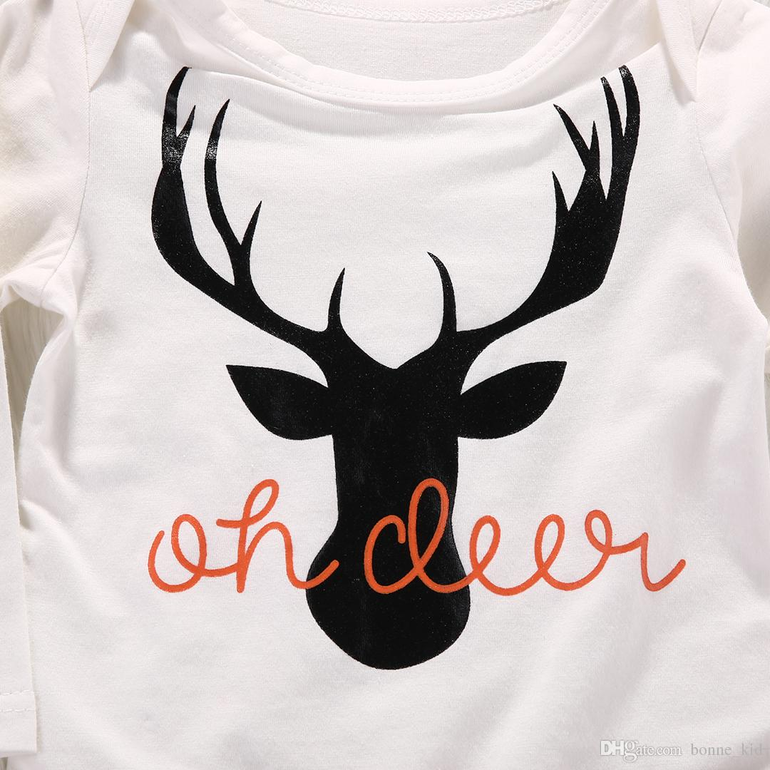 Christmas Baby Boys Girls Deer Romper Set Pajamas Reindeer Clothes Tops+ Trouser+ Hat Set Outfits Organic Cotton Newborn Baby Toddler