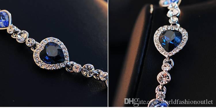 Pulseras del encanto del corazón del océano Pulsera de cristal del encanto de la manera de calidad superior Joyería coreana del estilo del diamante Regalo del cumpleaños de las muchachas austríacas