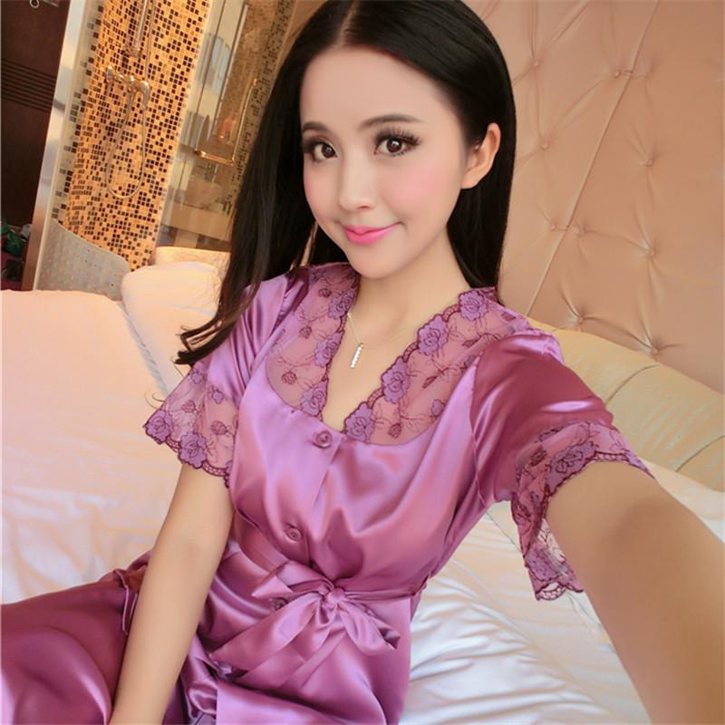 2019 Wholesale Chinese Satin Pyjamas Couple Pajama Sets Short Sleeve  Pijamas Women S Sleep  Lounge Female Homwear Faux Silk Lady S Sleepwear 15  From Yakima 383088482