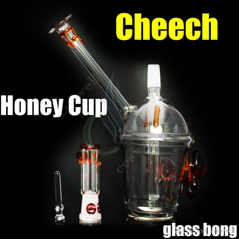high quality Cheech honey cup glass bong two tortoise water pipes oil rigs bongs grinder tobacco pipe bubbler ash catcher windproof lighters