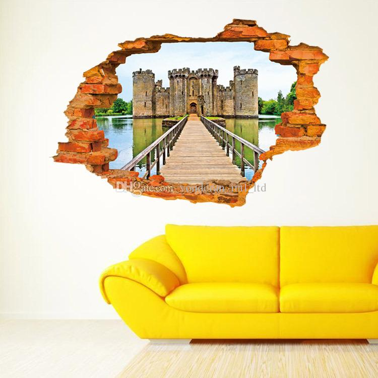 3d Wall Stickers Stereo Creative Wall Broken Fashion Castle Wall ...