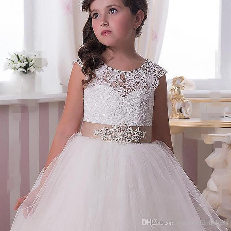 Lace Flower Girl Dresses Princess White Champagne Ribbon Trim Bow Illusion Neckline Covered Buttons Back Custom Made Pageant Gowns
