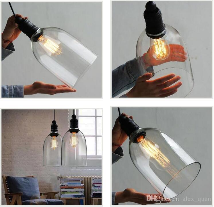 Retro industrial diy ceiling lamp light glass pendant lighting home decor fixtures free edison bulb e27 110v 240v modern pendant drop ceiling light fixtures