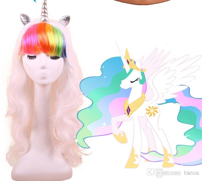 colorful wig movie long wavy wigs for festive unicorn cosplay pony