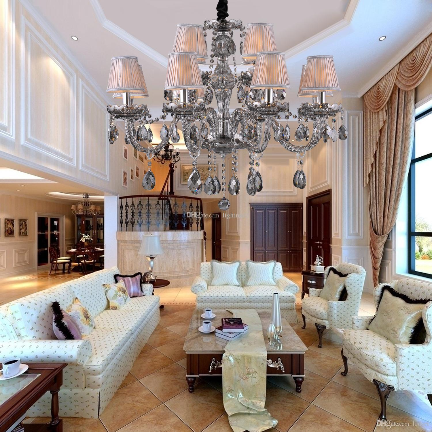 Gray Crystal Chandelier E14 Led Candle Blubs With 12 Lights Drop Pendent Large Living Dining Room MS6023 8 4
