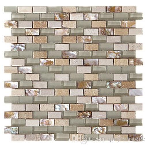 Telhas de assoalho telhas de mosaico de pedra de vidro parede montada backsplash telhas de parede de vidro mosaico