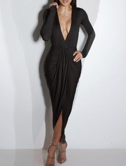 Women Party Dress Deep V-neck Sexy Nightclub Ladies Elegant Folding Dress Long Split Up Dresses