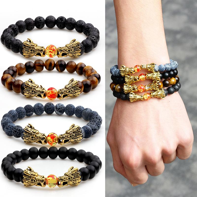 2019 Dragon Bead Bracelet For Men Women Erlongxiu Lava Beaded Stone