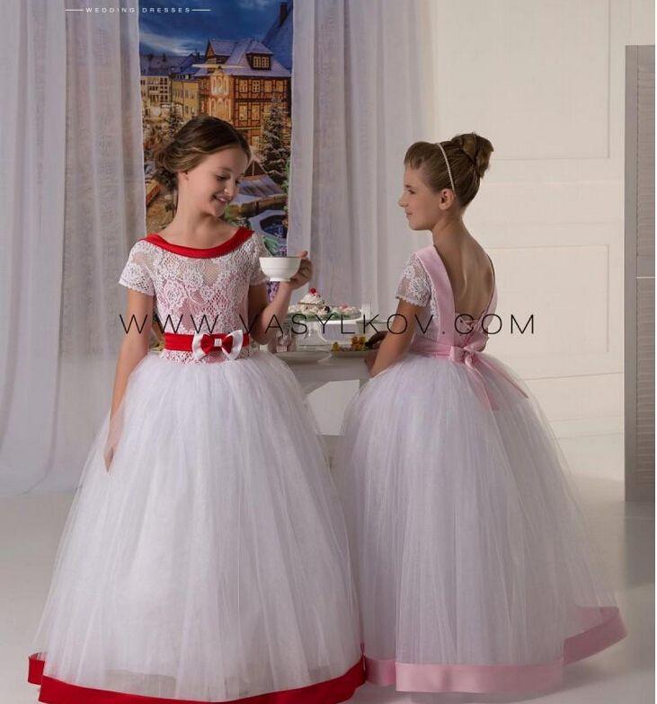 레이스 반팔 특종 허리띠 Tulle Ball GownBaby Girl Birthday Party 크리스마스 드레스 어린이 소녀 파티 드레스 Flower Girl Dresses