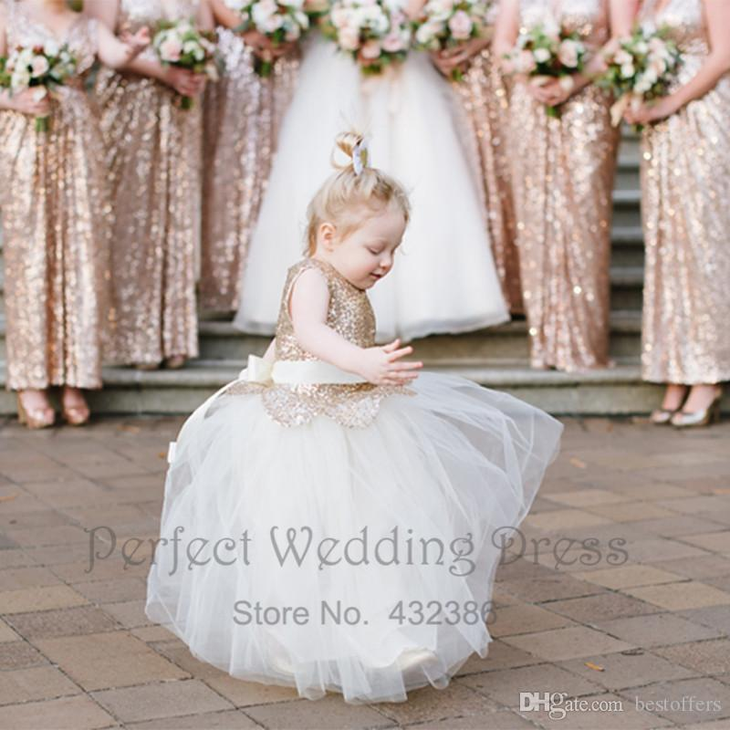 7521c71b08 Blush Pink Cute Flower Girl Dresses For Girl Gold Sequins Top A Line Ankle  Length With Handmade Flower Baby Communion Gowns Custom BA3096 Bridesmaid  Mother ...