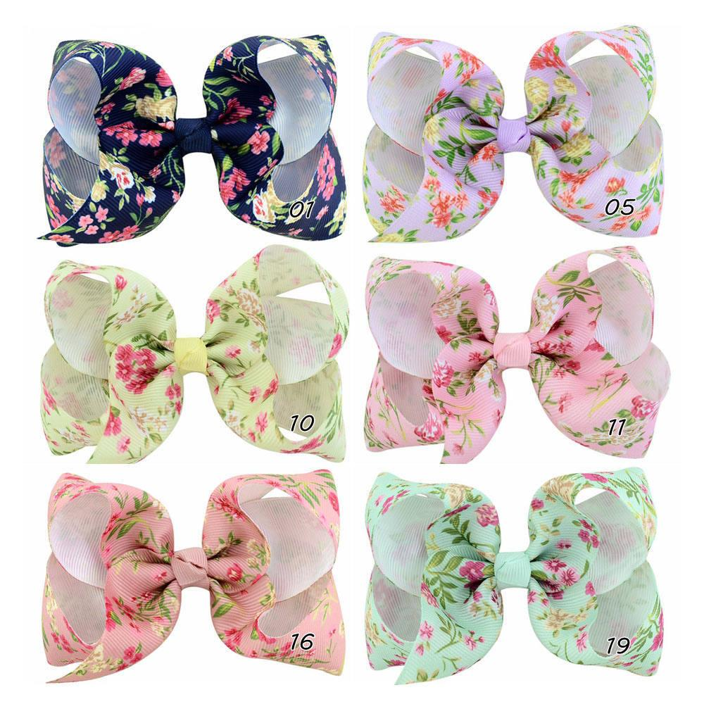 4 Inchs Kids Floral Hair Clips Ribbon Hair Bow with Clip Handmade Baby Girl Bows Hairpins Children Bow Print Hair Accessories