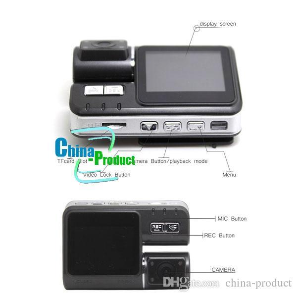 I1000 Coche DVR Cámara dual Cámara con doble lente HD 720P Dash Cam Caja negra con parte trasera 2 Cam Vehículo Vista Panel de instrumentos 002780
