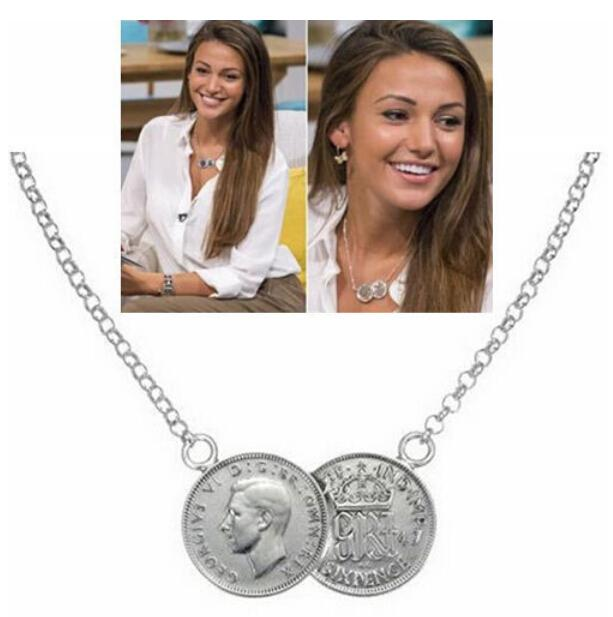 Wholesale celebrity lucky double coins charm pendant gold chain celebrity lucky double coins charm pendant gold chain choker chunky statement bib pendant necklace holly towie gift freejn066556 aloadofball Image collections