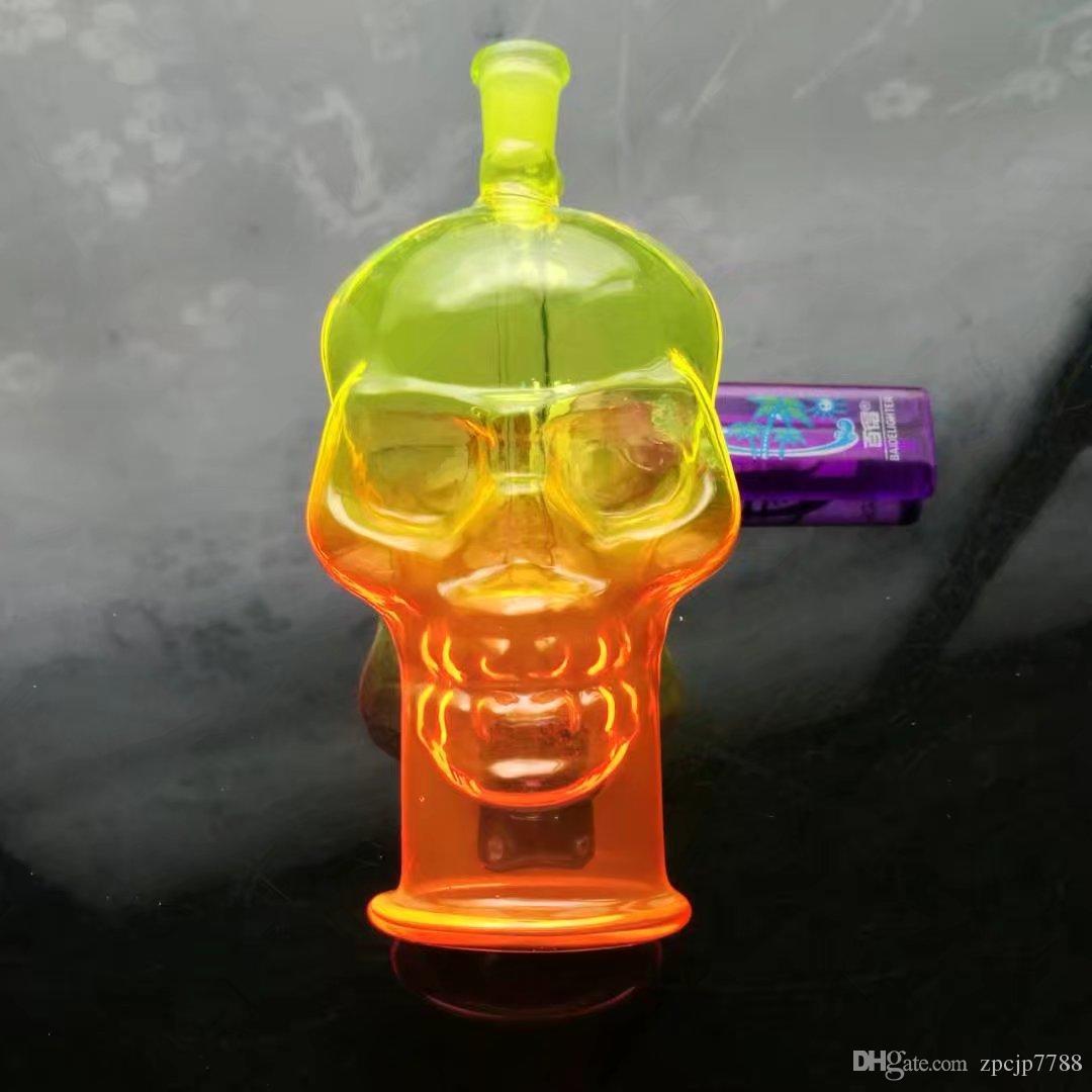 Цвет Spray костей черепа горшок, Оптовая Bongs масло горелки Трубы Водопроводные трубы стеклянные трубные нефтяные вышки для курения Бесплатная доставка
