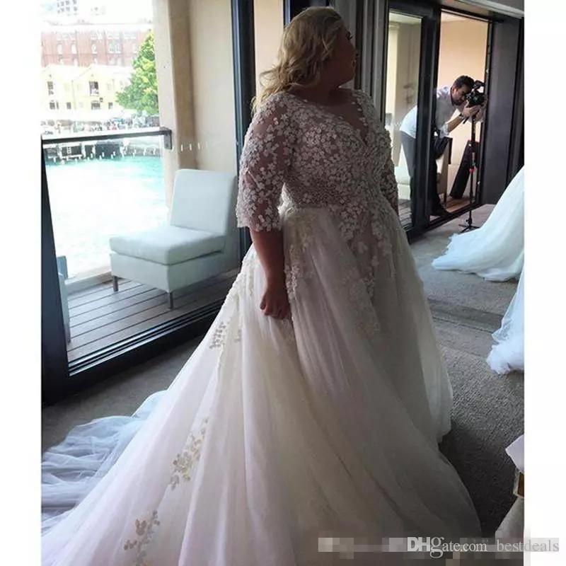 Steven Khalil 2017 Arabic Plus Size Wedding Dresses Sheer Neck Half Long Sleeves Custom Made Bridal Gowns For Garden Country Wedding Cheap