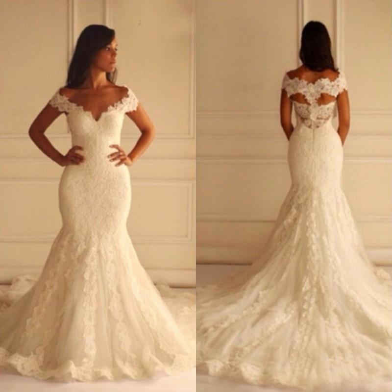 1da6a85bca870 Stunning Plus Size Mermaid Wedding Dresses 2015 Fit And Flare Lace Appliqued  Bridal Gowns V Neck Off The Shoulder Custom Made Different Wedding Dresses  ...