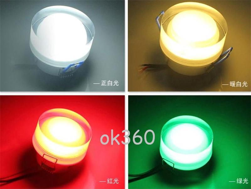 LED luz de techo de cristal de acrílico 1W / 3W / 5W // 7W / 9W / 12W downlight AC85-265V llevó luces de fondo lámpara de pared del proyector del pórtico para la decoración casera