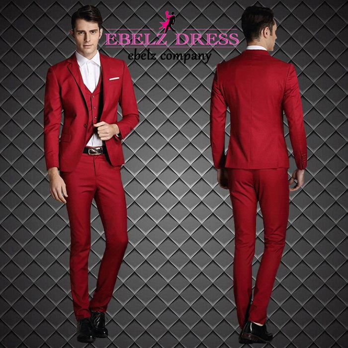 2016 New Cool Blue Gray Red Tuxedos For Men Wedding Party Prom ...