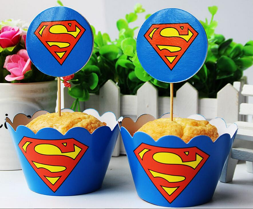 Best Quality Superheroes Cupcake Wrappers And Toppers U003dThe Avenger Baby  Party Birthday Decorations Batman Superman Shower Supplies Party New At  Cheap Price, ...