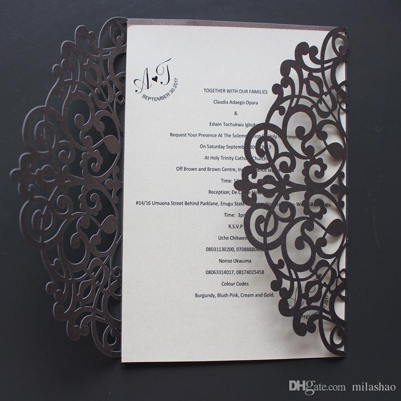 Coffee Shine Wedding Invitations Cricut Flower Hollow